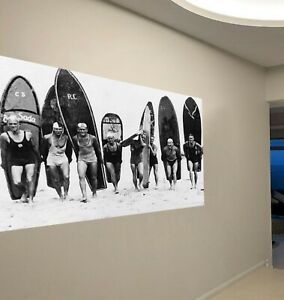 Vintage Large old photo surfing black white print canvas boards surf not poster