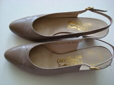 Ferragamo slingbacks taupe/brown leather with lizard 8 1/2