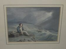 Antique English Watercolor Maritime Shipwreck Painting Nautical