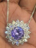 Pave 4,80 Carats Ronde Brillante Couper Diamants Collier Pendentif En 750 18K Or