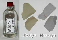 Japanese Sword Choji Oil 100ml & 20gm Hazuya Jizuya Stones 5 ONLY at this price!
