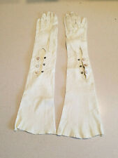 Vintage Long Beige Tone Leather w/ Beige Stone Snaps Opera Gloves Size 7 1/4, 22