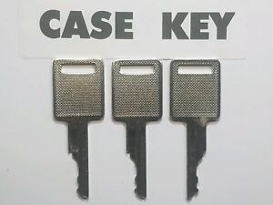 (3) Case, Bobcat Skidsteer Keys, fits Case Backhoe Heavy Equipment Ignition Key