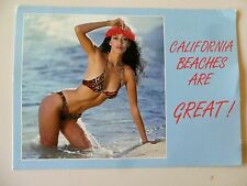 Bikini Girl in Surf Sand California Beaches Are Great! Pinup Vtg Postcard Unused