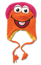 "FRAGGLE ROCK - ORANGE & PINK KNIT ""LAPLANDER HAT"" NEW OFFICIAL MUPPET ADULT OSFM"