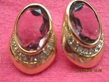 Purple Stone Cubit/Rhinestone w/Gold Fashion STATEMENT Earrings.  Good.