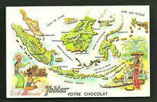 Indonesia Map card Sumatra Java Bali Borneo Celebes 50s