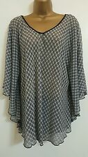 NEW Plus Size 16-32 Black White Lace Batwing Sleeves Tunic Top Blouse