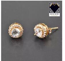 MACKRI Circle Shaped Overlapped Diamond Stud Earrings