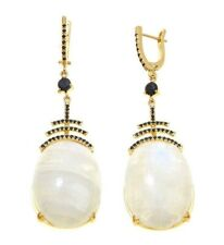 Meher's Yellow Vermeil Moonstone & Black Spinel Drop Earring Sterling Silver