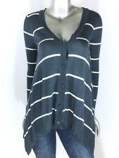 Hippie Rose Sweater V neck Button Asymmetrical Long Sleeve Stripe Blue Size XS