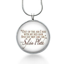 Out of the Ash Red Hair and eat men like Air necklace-Sylvia Plath,quote jewelry