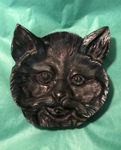 Vintage Black Cast Iron Metal Detailed Face Bob Cat Trinket Coin Dish Ashtray