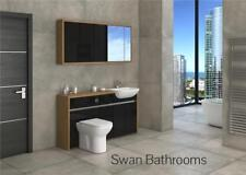 OAK / BLACK GLOSS BATHROOM FITTED FURNITURE WITH WALL UNITS 1600MM