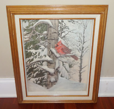 Pat Ford The Caroler 3D RED BIRD CARDINAL PRINT WOODEN FRAME SHADOW BOX SIGNED