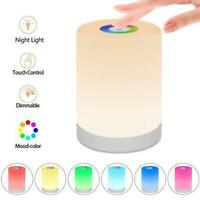 LED Night Light Bedside Table Touch Lamp USB Rechargeable RGB Dimmer Warm White