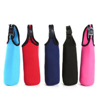 Multicolor Water Bottle Insulated Cover Holder Carrier Bag Shoulder Strap AL