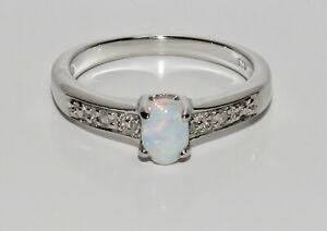 Sterling Silver Opal & Diamond Solitaire Ring - Real 925 Silver - All Sizes