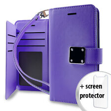 LG Tribute Dynasty Purple Leather Storage Wallet Case Glass Screen Protector