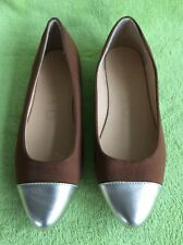 New MISO Brown & Gold Pointed Toe Ballerina Pumps / Flat Shoes - UK 7 / EU 41