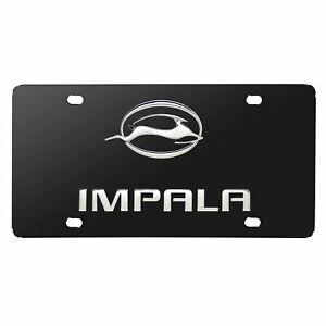 Chevy Impala Dual Logo License Plate (Chrome on Black)