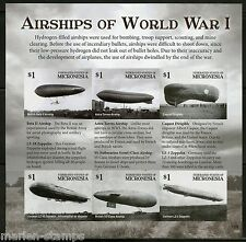 NEVER BEFORE OFFERED MICRONESIA  2015 AIRSHIPS OF WORLD WAR I SHEET  IMPERF NH