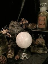 "Rock Crystal Ball 5"" Quartz Sphere on Antique Witchcraft Occult Pentagram Stand"