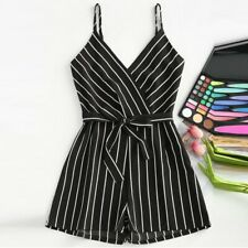 Fashion Ladies Sleeveless Strappy Short Playsuits Striped Cami Belt Romper Jumps