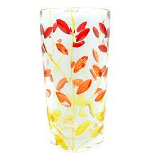 Vetro di Murano Bere Bicchiere Rosso Arancione Giallo Dipinto a Mano Fiore 398ml