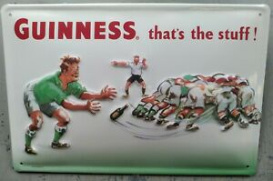 GUINNESS / RUGBY PLAYERS: EMBOSSED METAL ADVERTISING SIGN 30x20cm, IRISH BAR/PUB