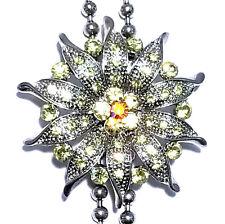 Rhinestone Fashion Necklace Choker Bolo Tie Austrian Crystal Yellow Lariat