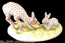 HEREND GUILD, BUNNY & FAWN PORCELAIN FIGURINE, CHOCOLATE & RUST, FLAWLESS $1195