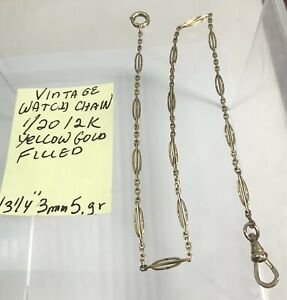 """Vintage Yellow Gold Filled Pocket Watch Chain 1/20 12K 13 1/4"""" 3mm 5gr"""