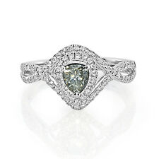 Real 0.78ct Natural Fancy Gray Diamond Engagement Ring 18K Solid Gold Pear
