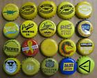 20 DIFFERENT MIXED SHADES OF YELLOW THEMED BEER/SODA BOTTLE CAPS