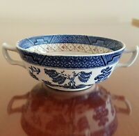Booths REAL OLD WILLOW Blue and White Cream Soup Bowl Dish A8025