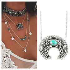 Jewelry Ethnic Silver Chain Turquoise Pendant Necklace Bohemian