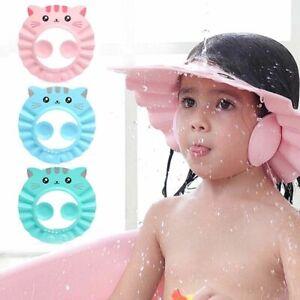 Kids Bath Hat Adjustable Baby Bathing Shower Cap Ear Protection New