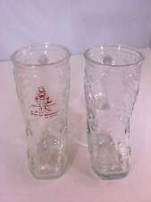 Mugs Coffee Tea Beer Clear Glass Cowboy Boot Jency Blue Baugh Red Imprint Lot 2