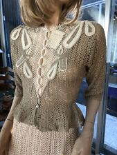Lim's Vintage All Hand Made Cotton Crochet Top & Skirt Set Taupe/White Size S