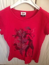 Hannah Montana Girls Red T-shirt Age 6-7 With Butterfly's From George