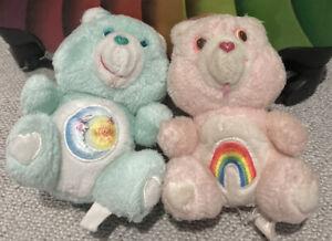 "Vintage Tic 1980's 2 Care Bears BEDTIME BEAR 6"" Cheer Plush Bear"