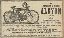 Y8245 Biciylette a pétrole ALCYON - Pubblicità d'epoca - 1907 Old advertising