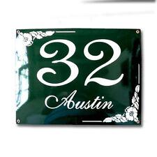 Hausnummer Hausnummernschild Emaille 30x40 cm mit Wunschstraßennamen und Nummer