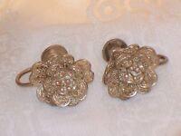 Vintage Early SILVER FILIGREE ROSE EARRINGS Old Screw back Flower Cannetille