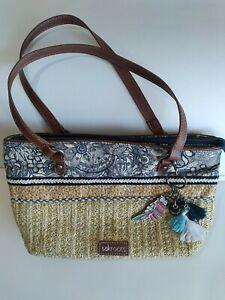 SakRoots Woven Purse Shoulder Bag blue Floral Tan Jute and cotton w/ owl charm