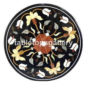 "24"" Marble Black Coffee Table Top Precious Mosaic Inlay Art Outdoor Decors B135"