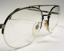 Large 56 Semi-Rimless Men's Aviator Pewter Wire Rim Logo Paris Eyeglass Frame
