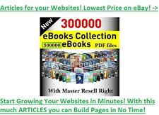 300K PLR ARTICLES + 2000 EBOOKS FOR 650 NICHES 6.2GB+ Zipped ALL RESELL RIGHTS!