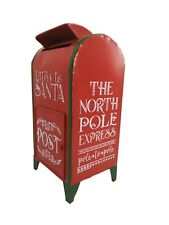 Red & Green Standing Post Mail Box Letters To Santa Kids School Christmas Xmas